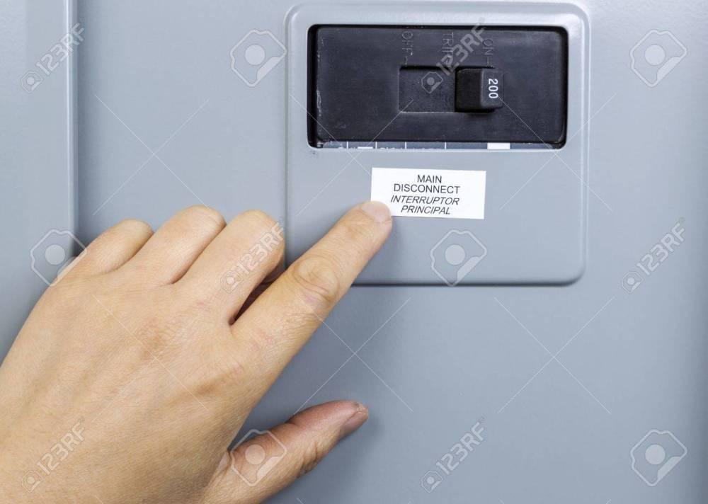 medium resolution of female hand near main circuit breaker of house power panel stock photo 16587612