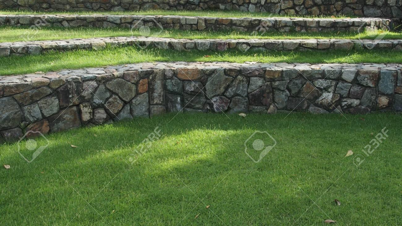 Stone Stairs On The Grass Outdoor Garden Park Stock Photo | Outdoor Garden Under Stairs | Small | Crosstie | Gardening | Landscaping | Lawn