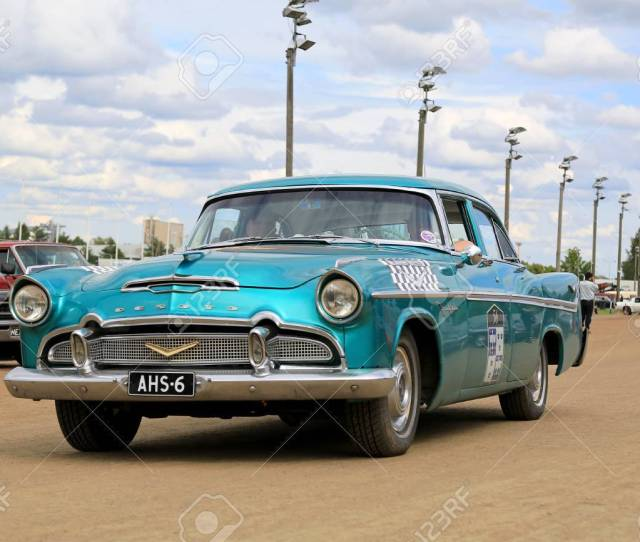 Forssa Finland August 2 2015 Classic Turquoise Desoto Firedome 4 Door