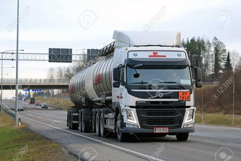 medium resolution of forssa finland december 12 2015 volvo fm tank truck in adr haul