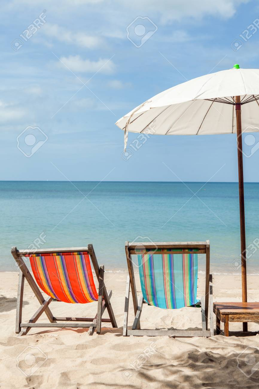 Beach Lounge Chairs Vacation Holidays Background Wallpaper Two Beach Lounge Chairs