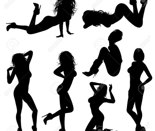 Silhouettes Sexy Girl In Various Poses Isolated On White Background Stock Vector 16563420