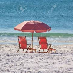 Pink Beach Chair Gaming Monitor Stand Pair Of Chairs On The In Florida Stock Photo 50497842