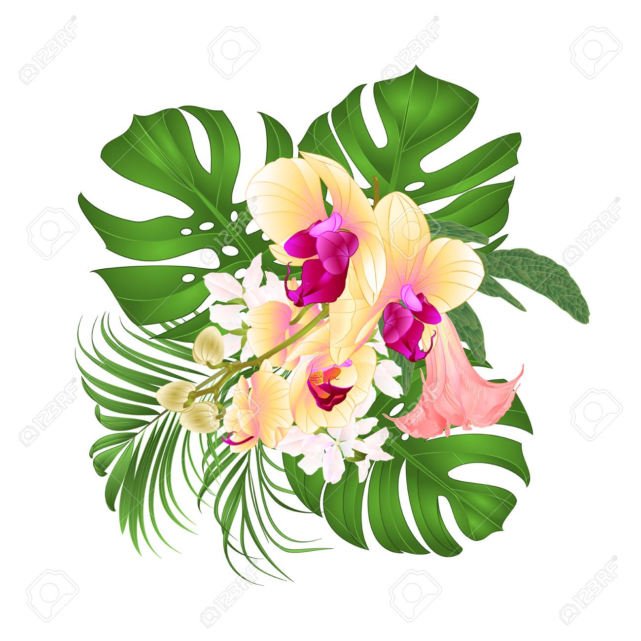 hight resolution of bouquet with tropical flowers floral arrangement beautiful yellow orchid palm philodendron and