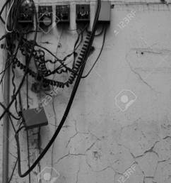 messy of telephone connection on the wall in thailand stock photo 69321121 [ 1300 x 866 Pixel ]