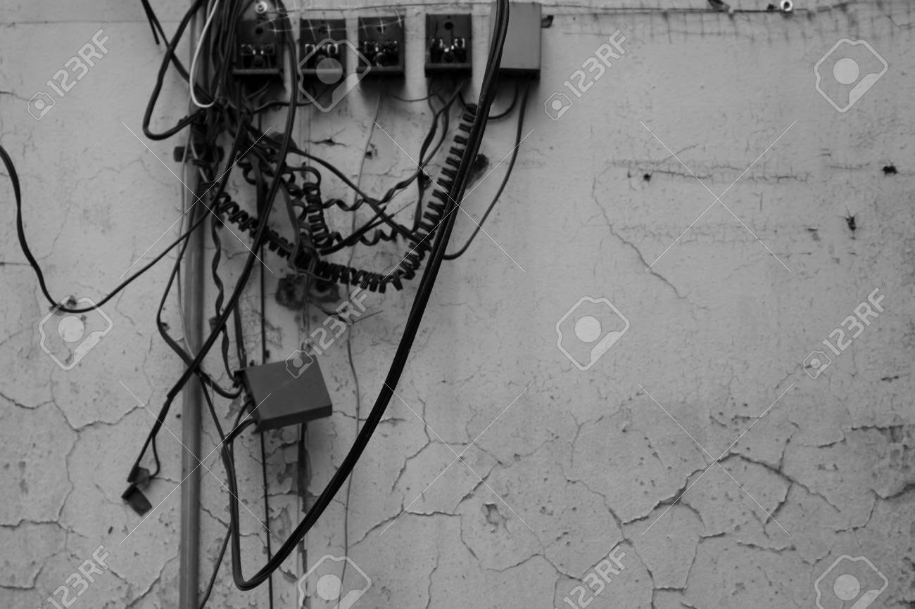 hight resolution of messy of telephone connection on the wall in thailand stock photo 69321121