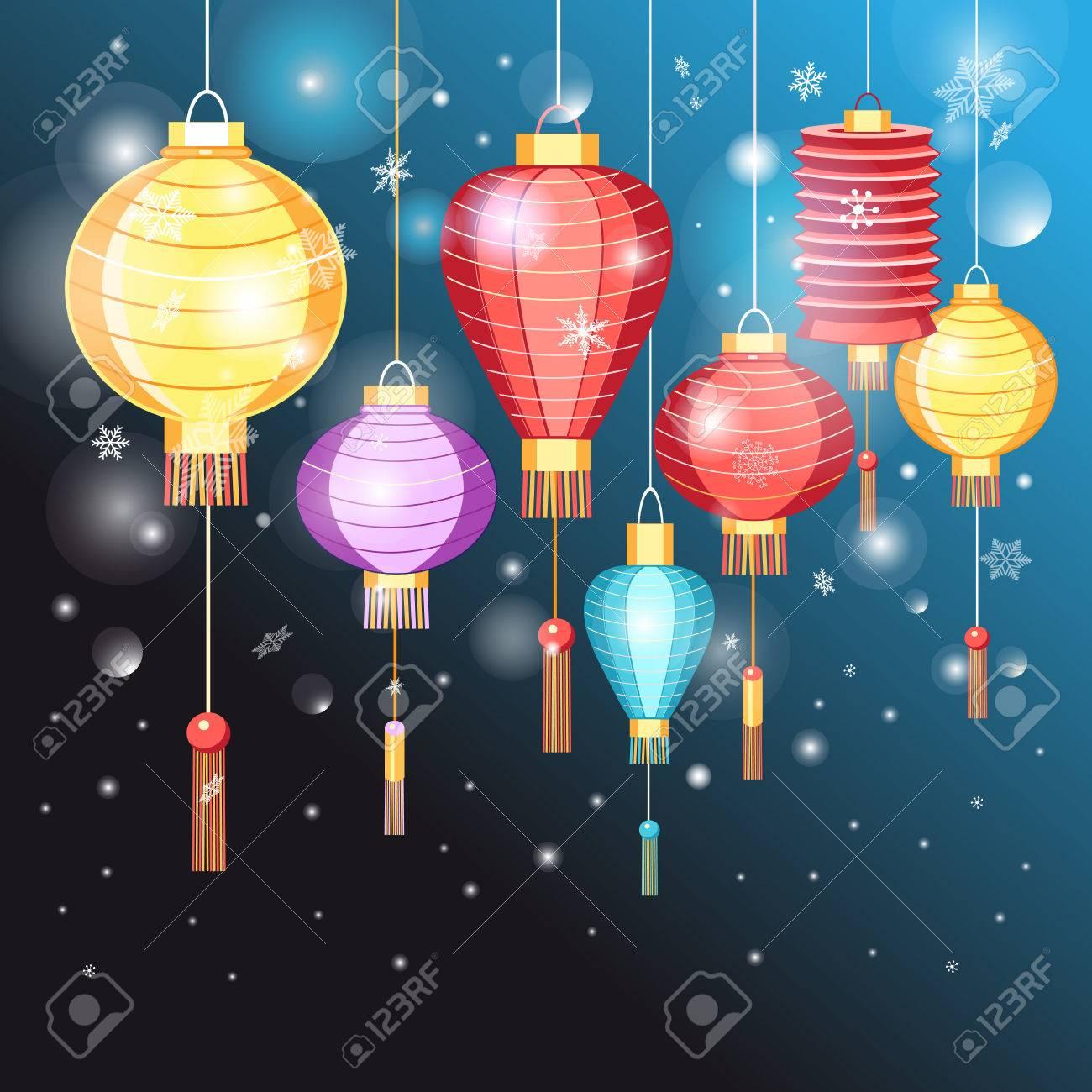 christmas card chinese lanterns