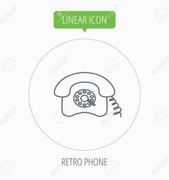 old telephone sign linear outline circle button vector stock vector [ 1300 x 1300 Pixel ]