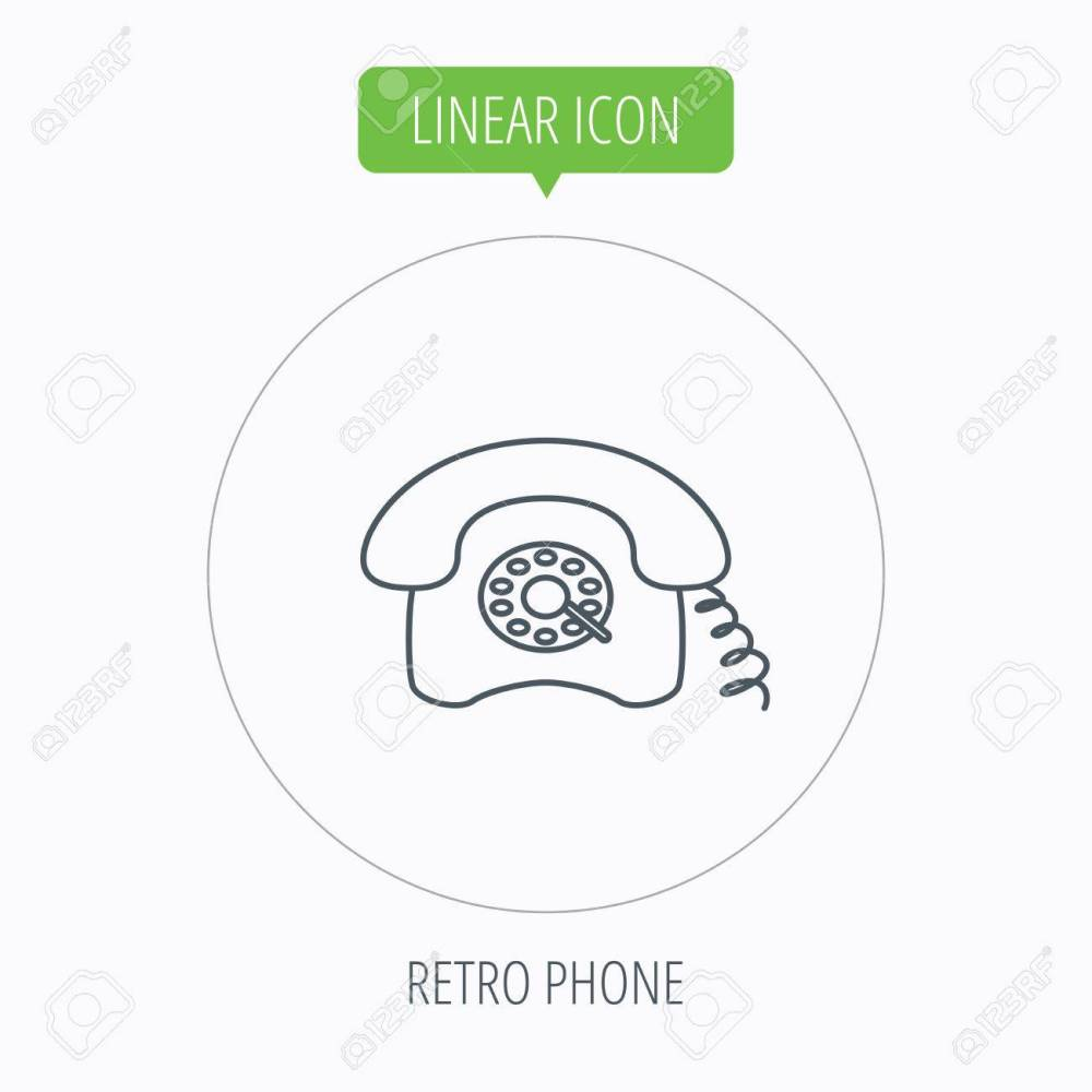 medium resolution of old telephone sign linear outline circle button vector stock vector