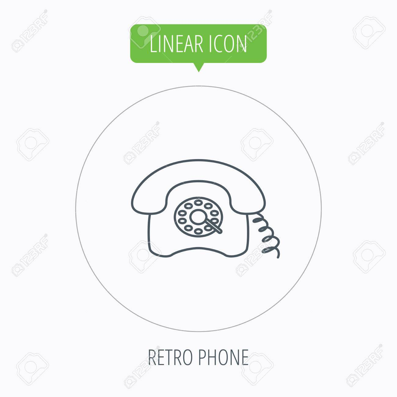 hight resolution of old telephone sign linear outline circle button vector stock vector
