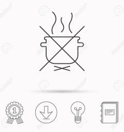 boiling saucepan icon do not boil water sign cooking manual attenction symbol download [ 1300 x 1300 Pixel ]