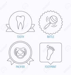 pacifier footprint and dental tooth icons rattle toy linear sign award medal  [ 1300 x 1300 Pixel ]