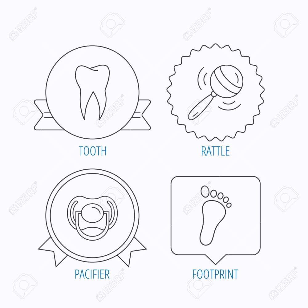 medium resolution of pacifier footprint and dental tooth icons rattle toy linear sign award medal