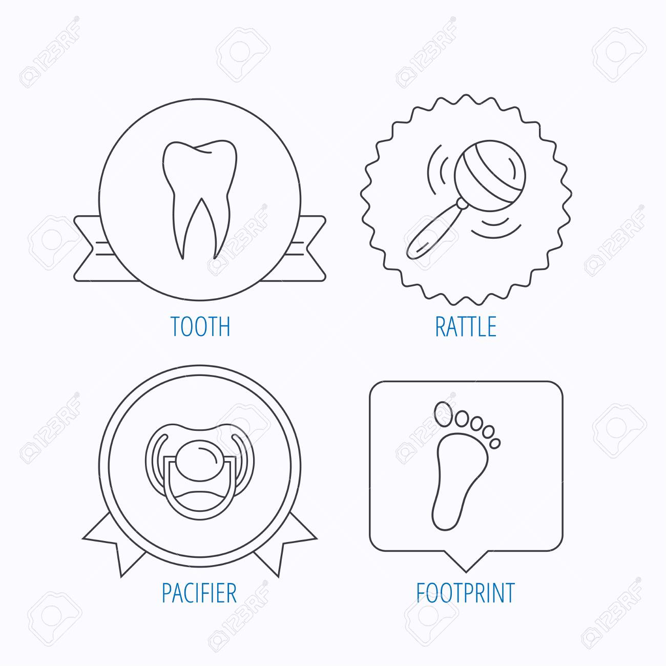 hight resolution of pacifier footprint and dental tooth icons rattle toy linear sign award medal