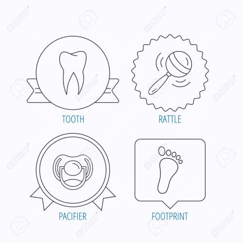 small resolution of pacifier footprint and dental tooth icons rattle toy linear sign award medal