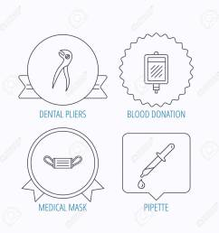 medical mask blood and dental pliers icons pipette linear sign award medal  [ 1300 x 1300 Pixel ]