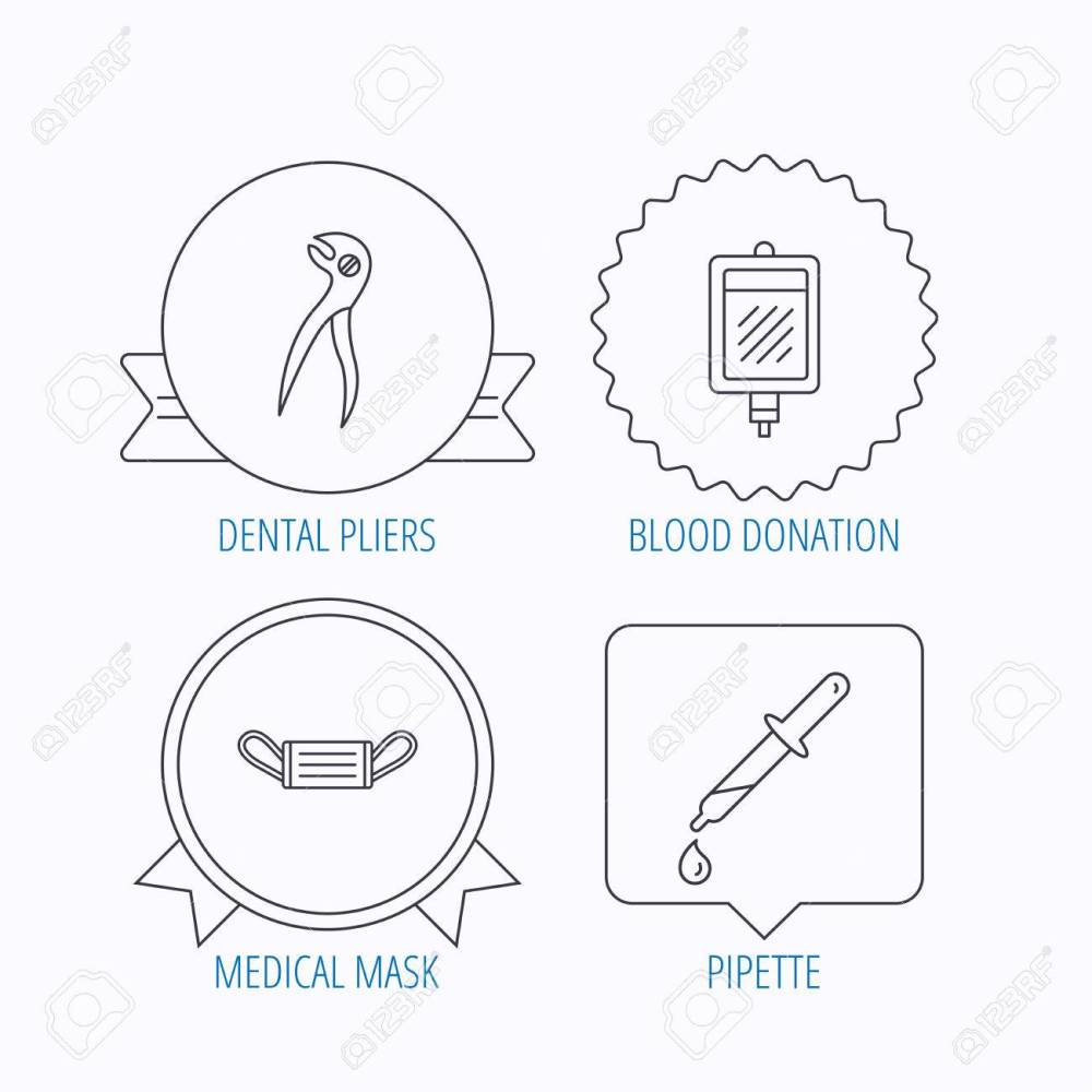 medium resolution of medical mask blood and dental pliers icons pipette linear sign award medal