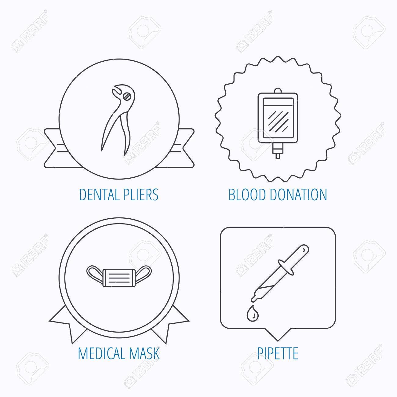 hight resolution of medical mask blood and dental pliers icons pipette linear sign award medal