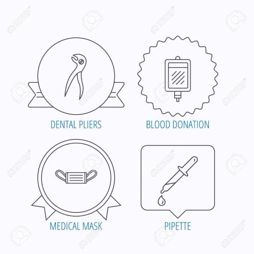 small resolution of medical mask blood and dental pliers icons pipette linear sign award medal