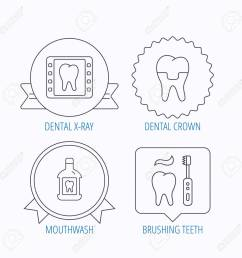 dental crown x ray and brushing teeth icons mouthwash linear sign award [ 1300 x 1300 Pixel ]