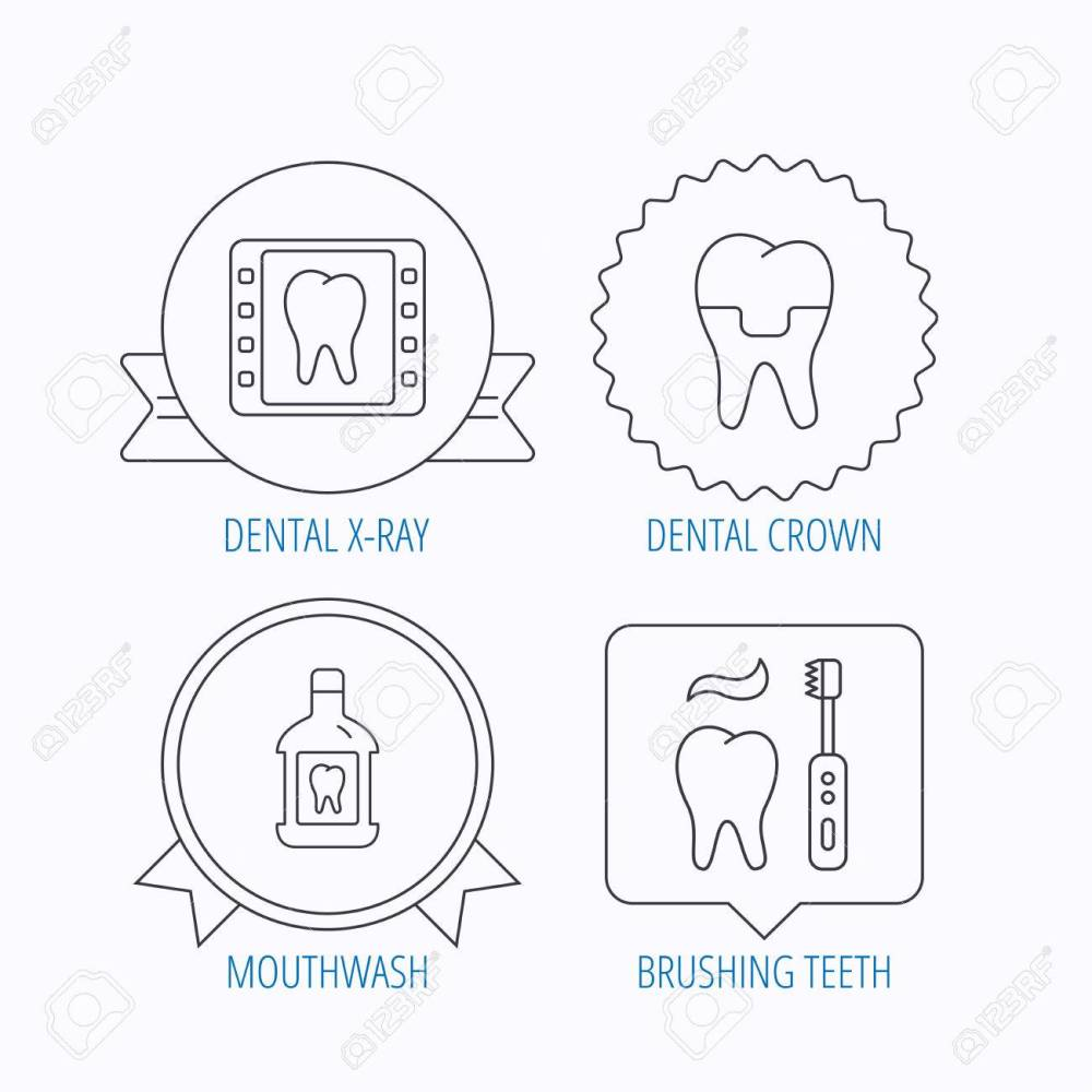 medium resolution of dental crown x ray and brushing teeth icons mouthwash linear sign award