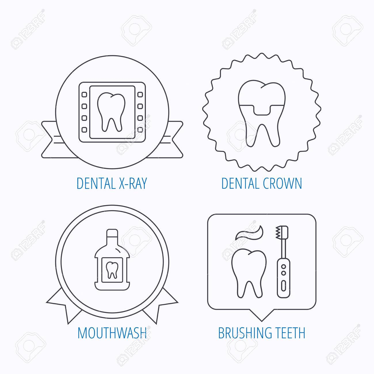 hight resolution of dental crown x ray and brushing teeth icons mouthwash linear sign award
