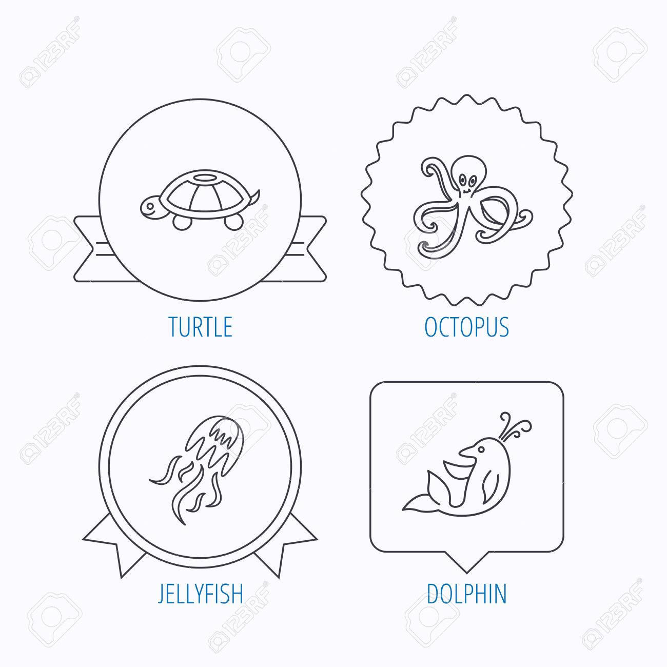 hight resolution of octopus turtle and dolphin icons jellyfish linear sign award medal star label