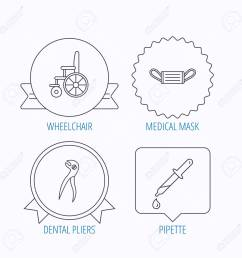 medical mask pipette and dental pliers icons wheelchair linear sign award medal  [ 1300 x 1300 Pixel ]