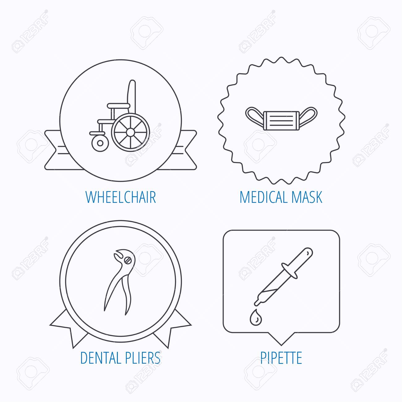 hight resolution of medical mask pipette and dental pliers icons wheelchair linear sign award medal