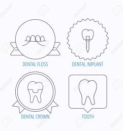 dental implant floss and tooth icons dental crown linear sign award medal  [ 1300 x 1300 Pixel ]