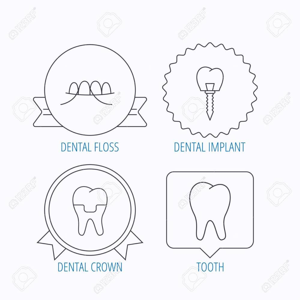 medium resolution of dental implant floss and tooth icons dental crown linear sign award medal