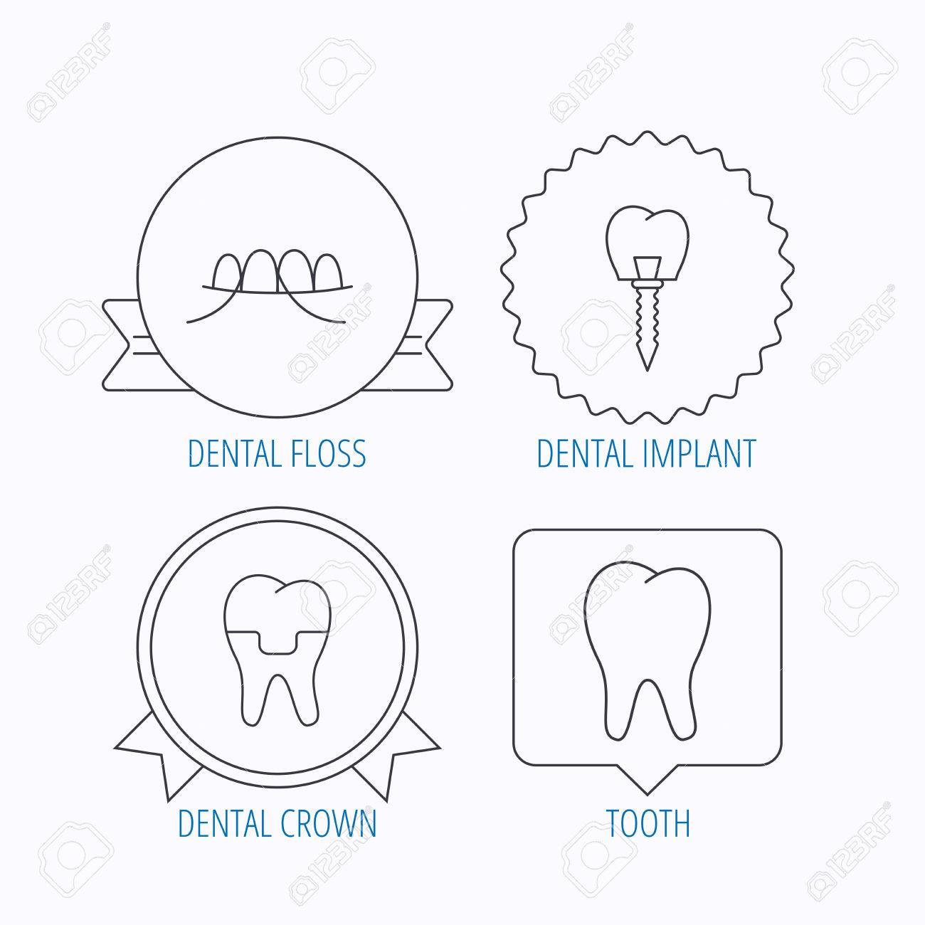 hight resolution of dental implant floss and tooth icons dental crown linear sign award medal