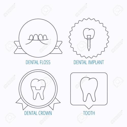 small resolution of dental implant floss and tooth icons dental crown linear sign award medal