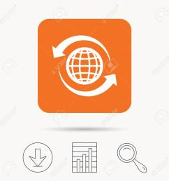 globe icon world or internet symbol report chart download and magnifier search signs [ 1300 x 1300 Pixel ]