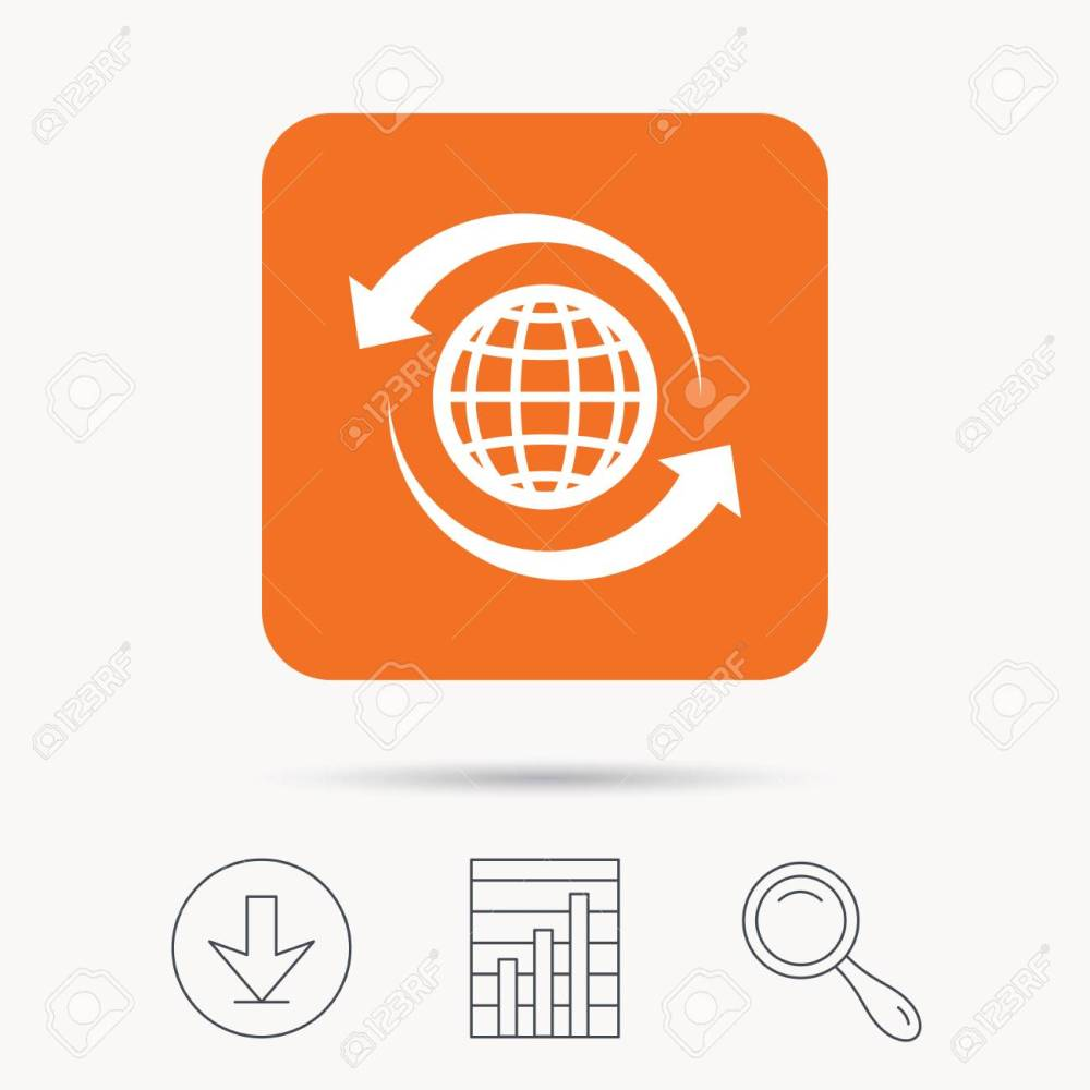 medium resolution of globe icon world or internet symbol report chart download and magnifier search signs