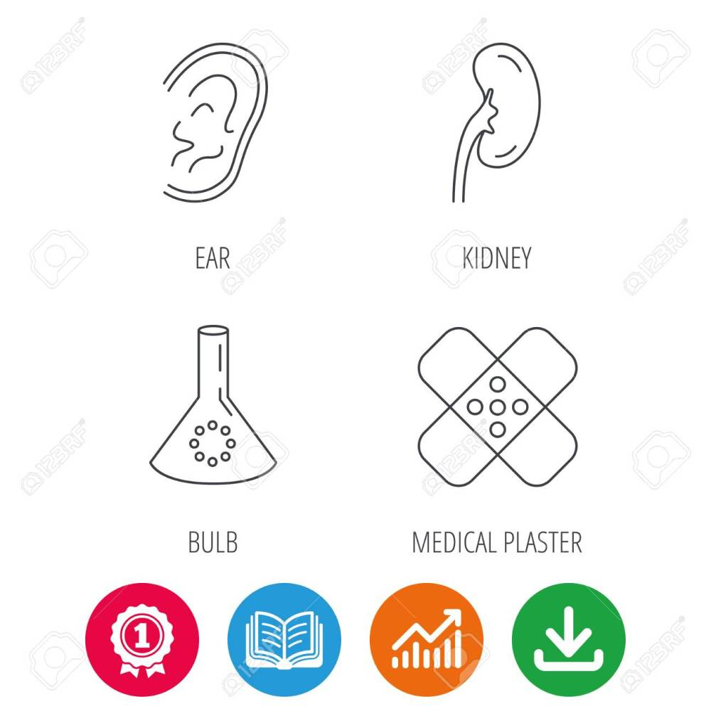 medium resolution of lab bulb medical plaster and ear icons kidney linear sign award medal