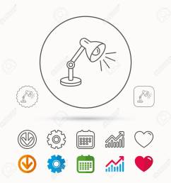table lamp icon desk light sign calendar graph chart and cogwheel signs  [ 1300 x 1300 Pixel ]