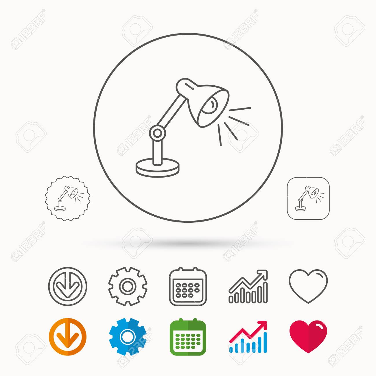 hight resolution of table lamp icon desk light sign calendar graph chart and cogwheel signs