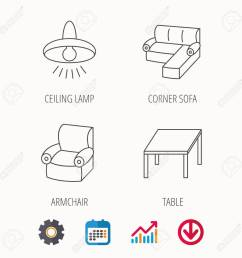 corner sofa table and armchair icons ceiling lamp linear signs calendar graph [ 1300 x 1300 Pixel ]