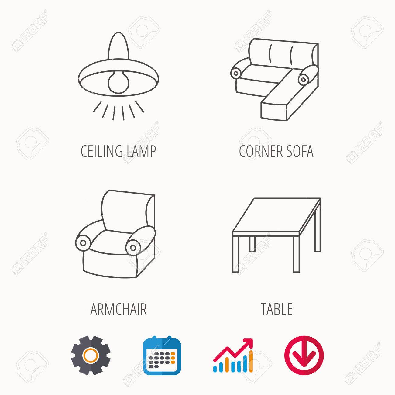 hight resolution of corner sofa table and armchair icons ceiling lamp linear signs calendar graph