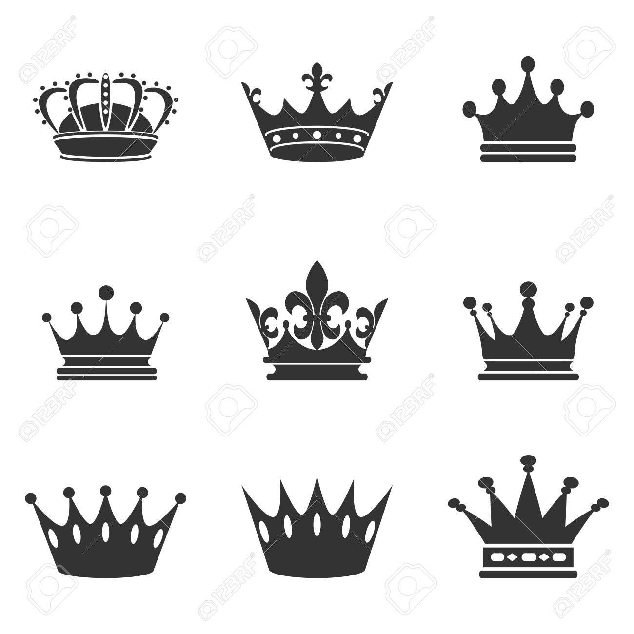 collection of crown silhouette