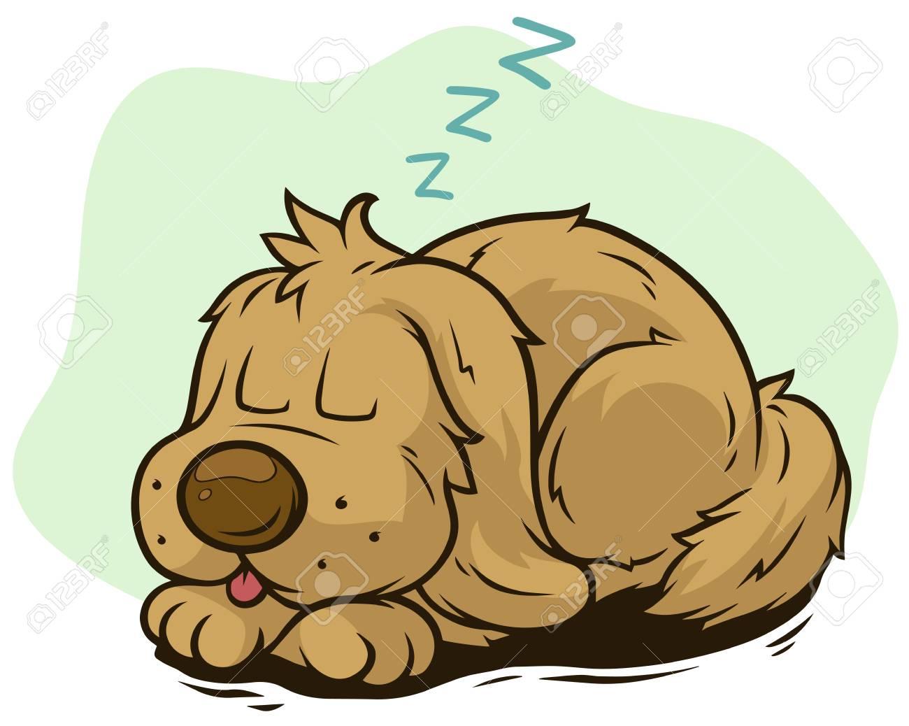 hight resolution of cartoon cute sleeping dog showing tongue stock vector 101808561