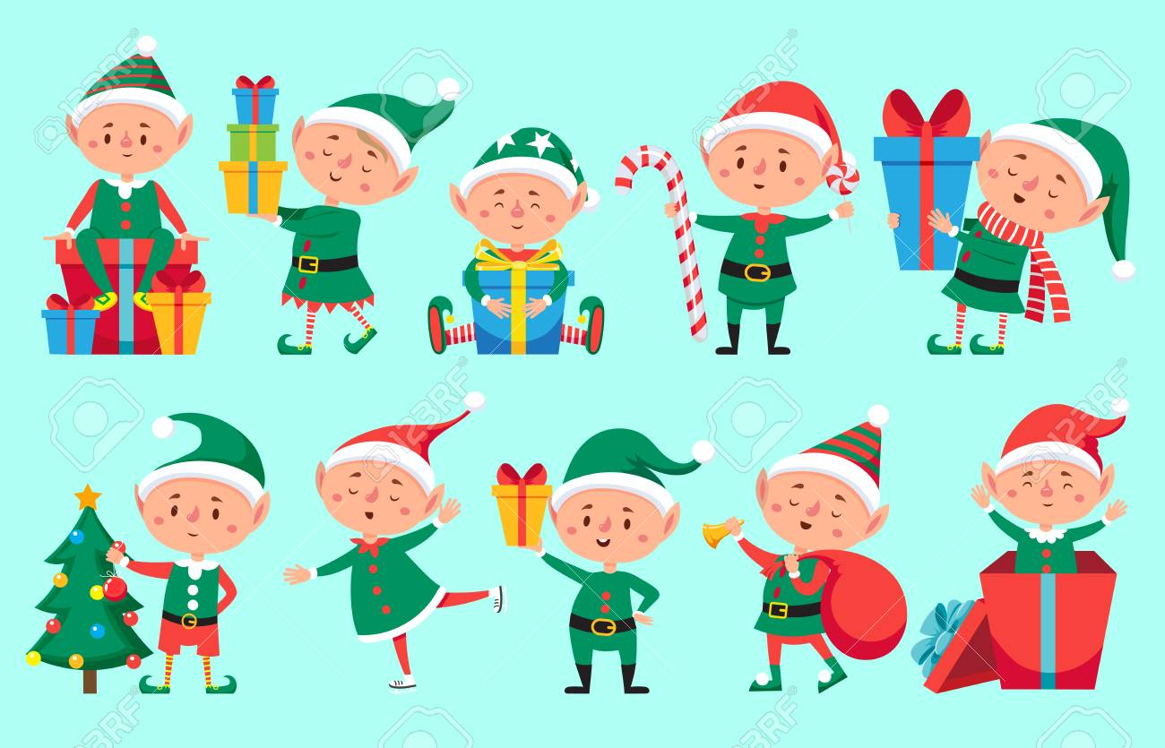christmas elf character cute