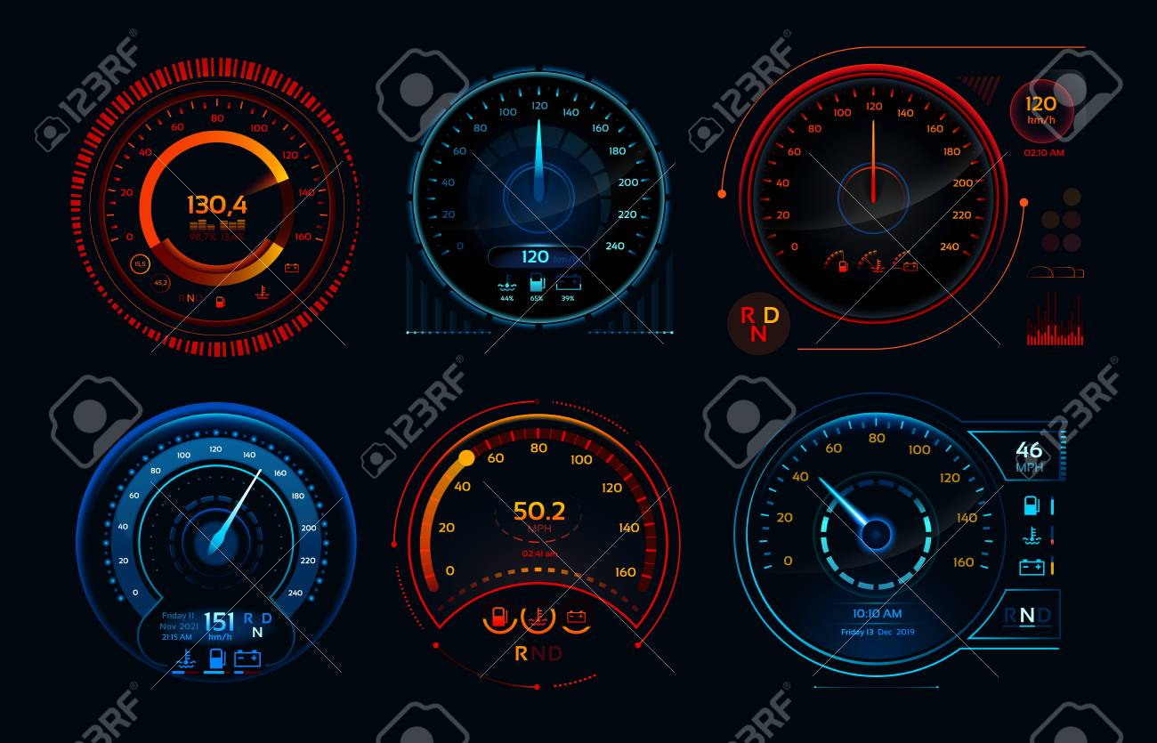futuristic car speedometer speed
