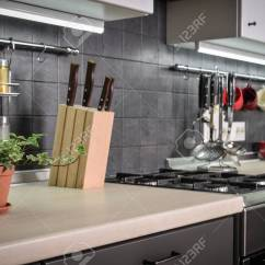 Kitchen Rail System Pull Out Drawers A Fragment Of The Modern Style With And Utensils Houseplant Stock