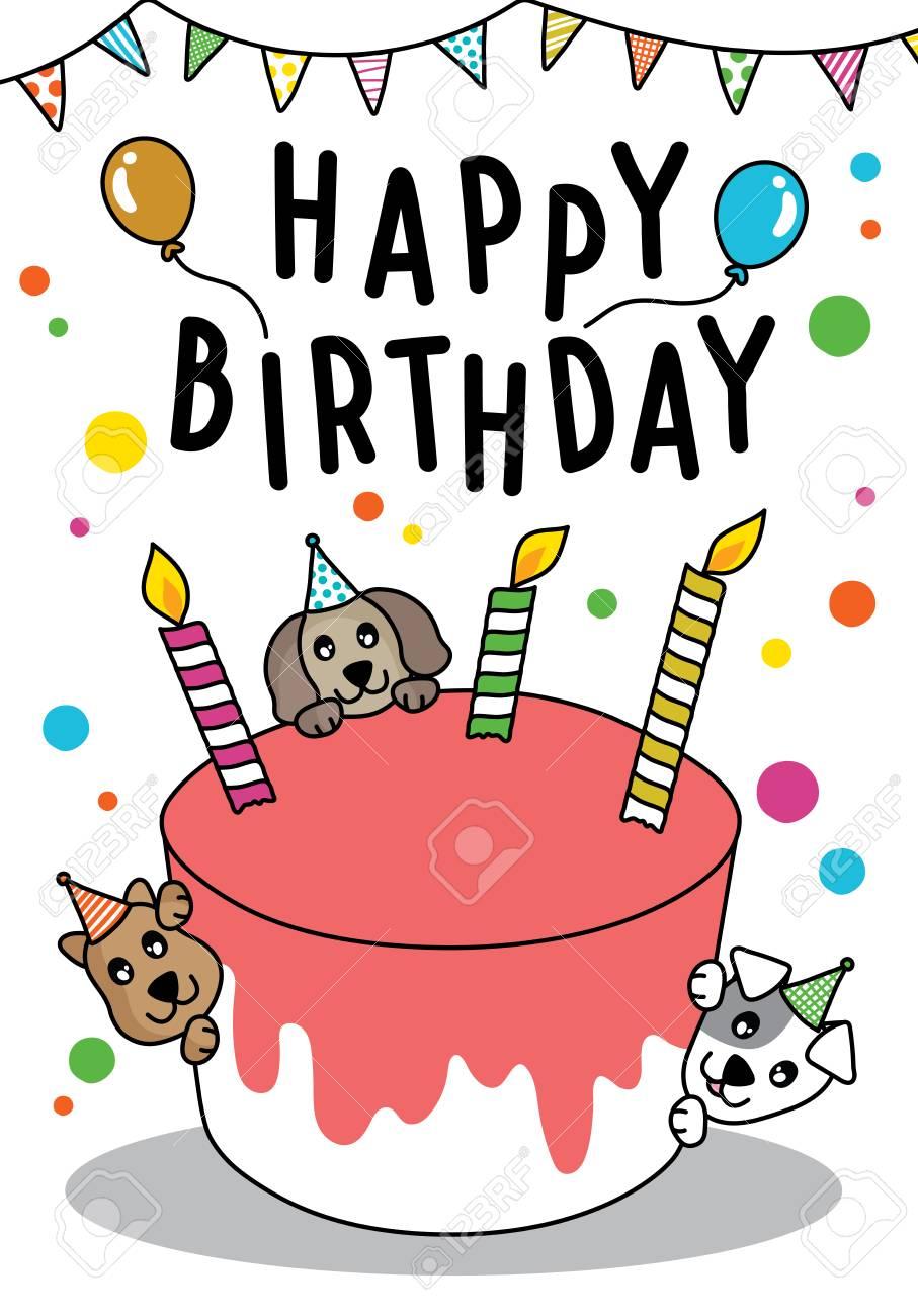 Happy Birthday Dog Clipart : happy, birthday, clipart, Vector, Doodle, Happy, Birthday, Card,.., Royalty, Cliparts,, Vectors,, Stock, Illustration., Image, 112476951.