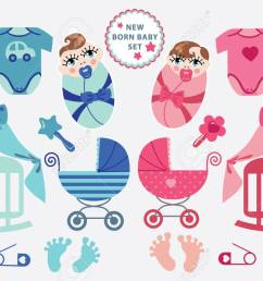 a set of cute cartoon cliparts for newborn baby boy and girl baby cartoon icons [ 1300 x 865 Pixel ]