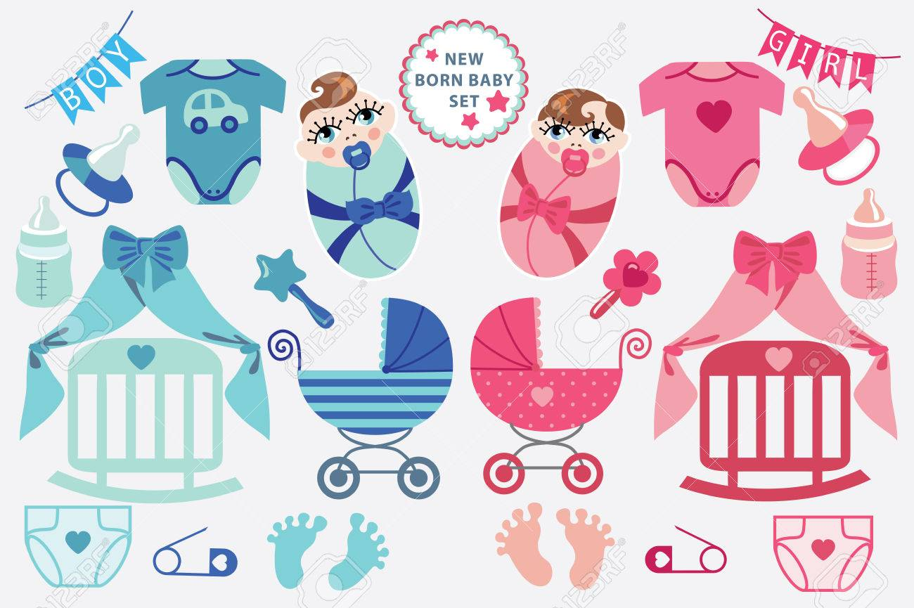hight resolution of a set of cute cartoon cliparts for newborn baby boy and girl baby cartoon icons