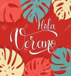hola verano hello summer lettering on spanish elements for invitations posters greeting [ 1299 x 1300 Pixel ]