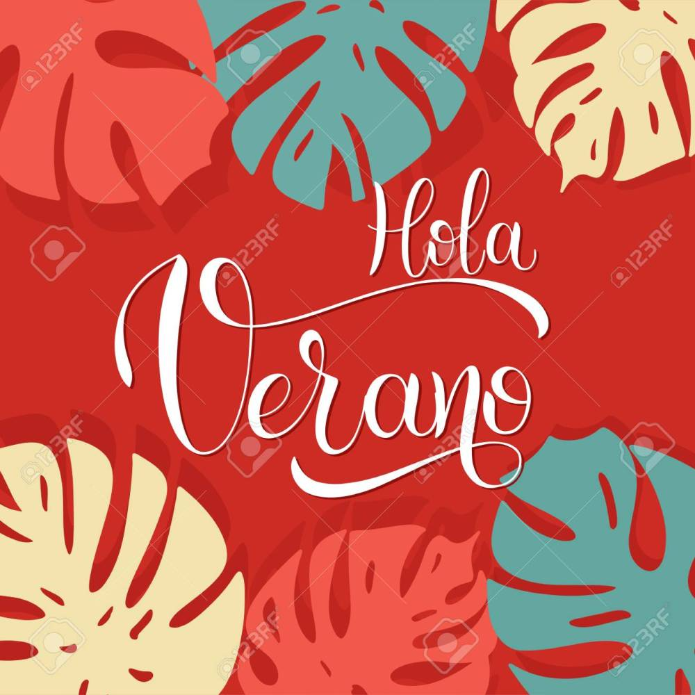 medium resolution of hola verano hello summer lettering on spanish elements for invitations posters greeting
